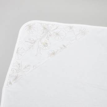 Giggles Floral Embroidered Receiving Blanket - 70x70 cms
