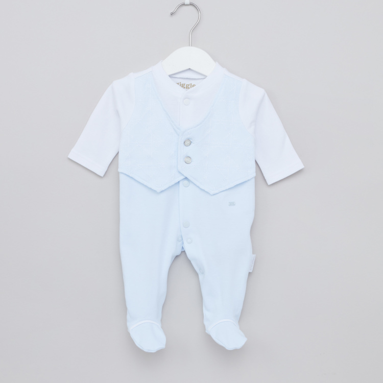 Giggles Long Sleeves Sleepsuit with Button Detail