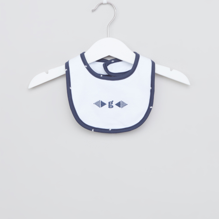 Giggles Embroidered Bib with Snap Button Closure