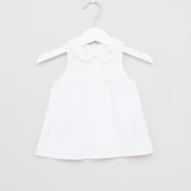 Giggles Sleeveless Dress with Ruffle Detail