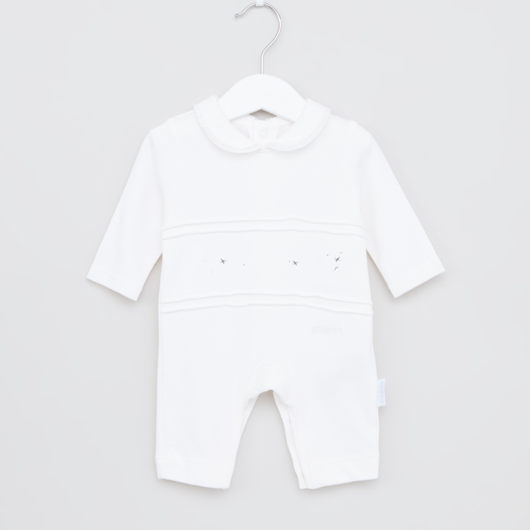 Giggles Collared Sleepsuit with Star Embellished Detail