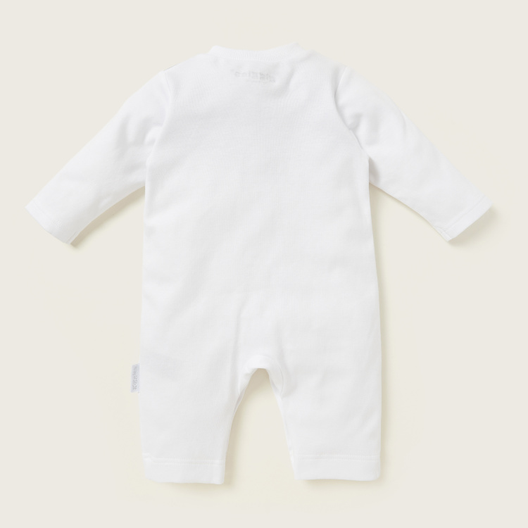Giggles Printed Sleepsuit with Round Neck and Long Sleeves