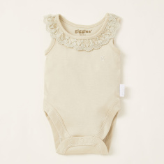 Giggles Lace Detail Bodysuit with Round Neck and Press Button Closure
