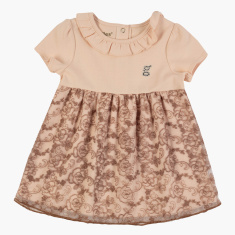 Giggles Lace Detail Dress with Round Neck and Short Sleeves