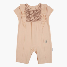 Giggles Lace Detail Romper with Round Neck and Cap Sleeves