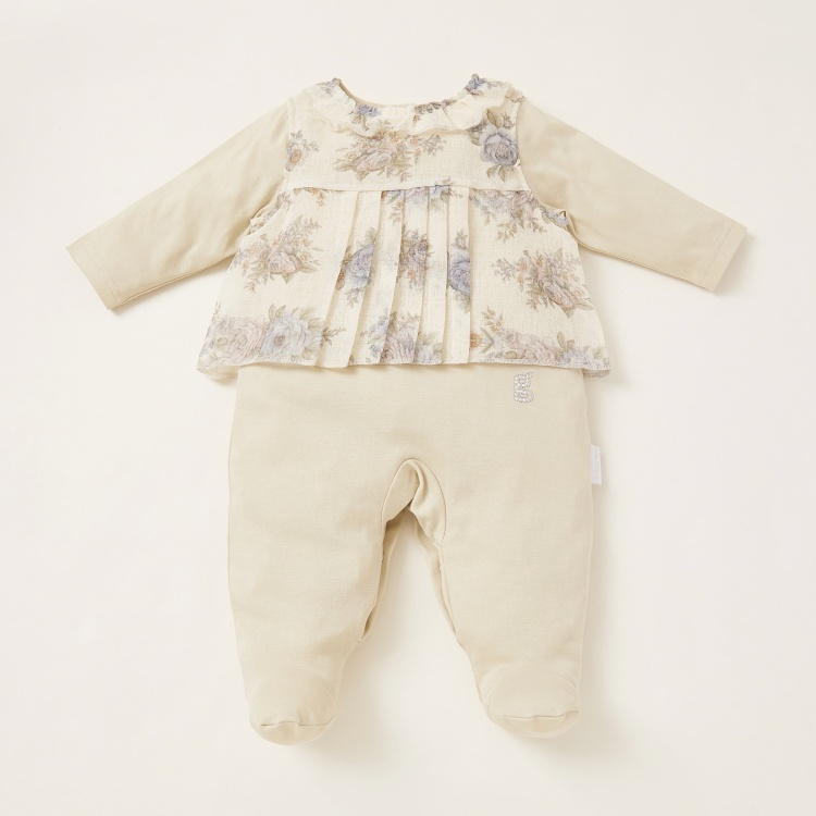 Giggles Floral Detail Sleepsuit with Press Button Closure