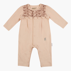 Giggles Lace Detail Sleepsuit with Round Neck and Long Sleeves