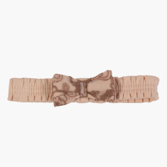 Giggles Elasticised Headband with Bow Applique