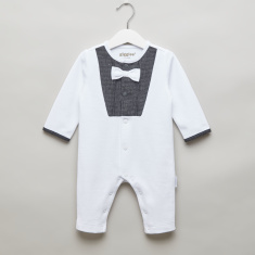 Giggles Textured Open Feet Sleepsuit with Bow Applique