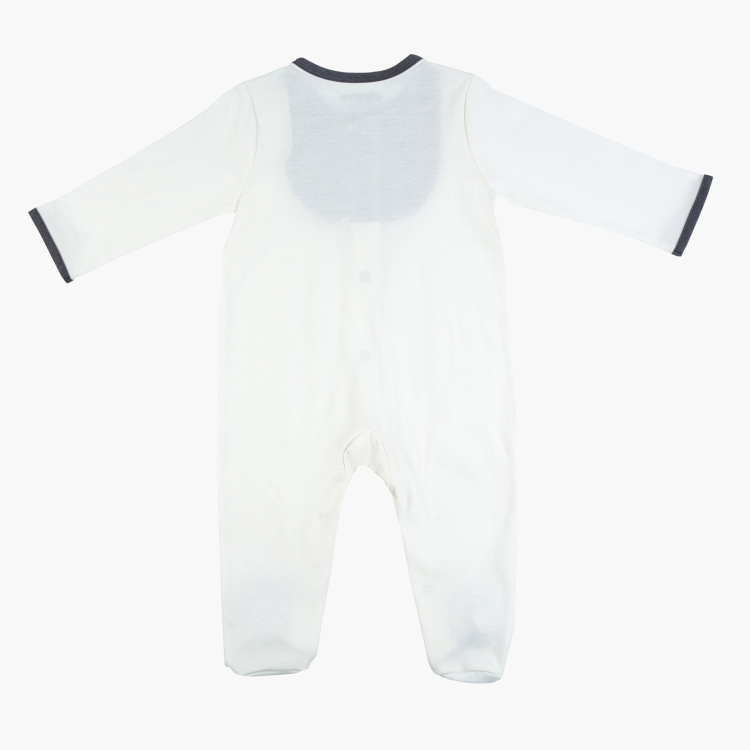 Giggles Panelled Closed Feet Sleepsuit with Long Sleeves