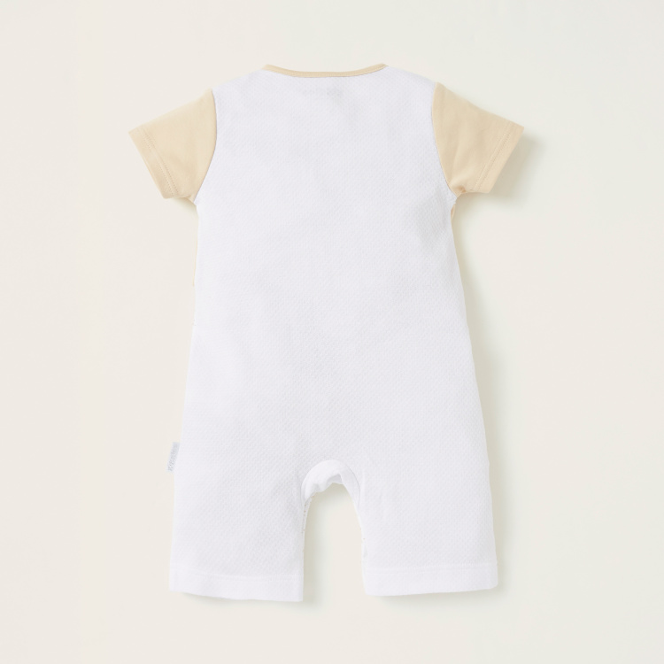 Giggles Textured Romper with Short Sleeves