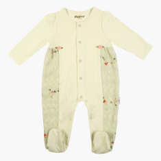 Giggles Closed Feet Sleepsuit with Floral Appliques and Lace Insert