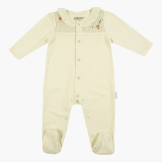Giggles Closed Feet Sleepsuit with Long Sleeves and Ruffle Detail
