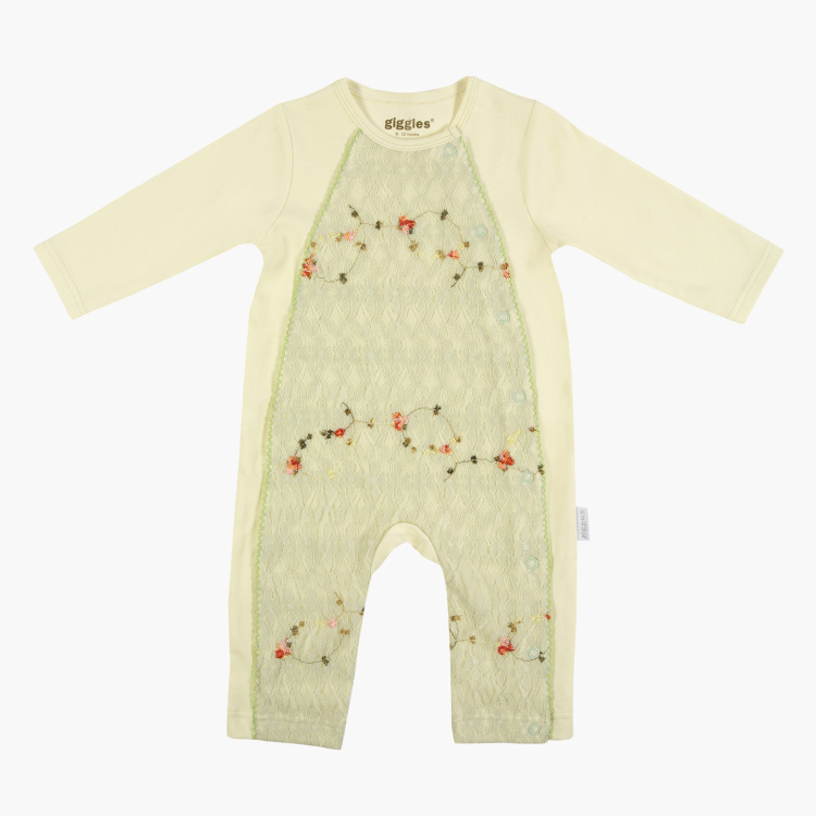 Giggles Round Neck Open Feet Sleepsuit with Lace Insert