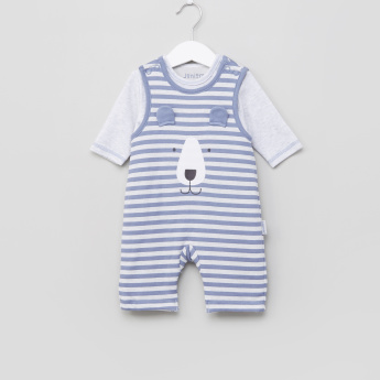 Juniors Striped Sleepsuit with Long Sleeves T-Shirt