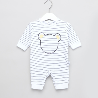 Juniors Striped and Embroidered Open Feet Sleepsuit