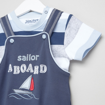 Juniors Embroidered Dungarees with Striped T-Shirt