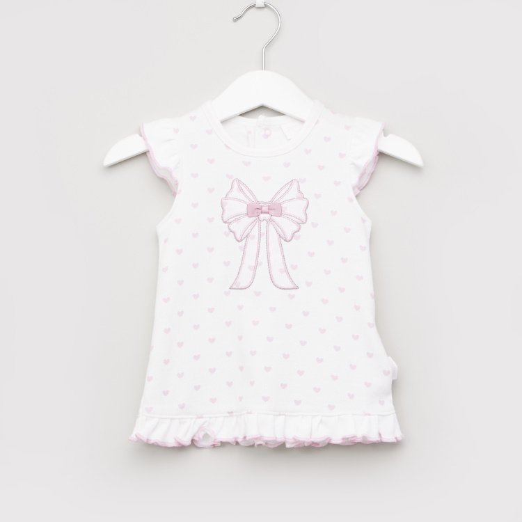 Juniors Printed Dress with Round Neck and Cap Sleeves