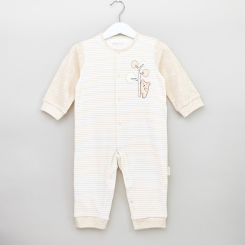 Juniors Striped and Embroidered Sleepsuit