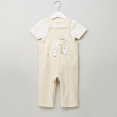 Juniors Striped T-shirt and Dungarees Set