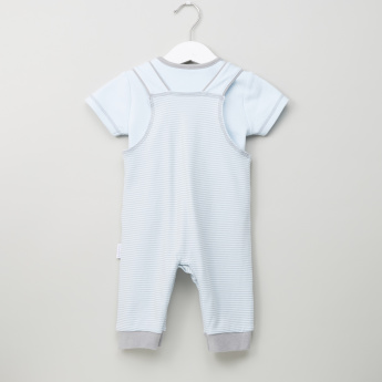 Juniors Striped Dungarees with Round Neck T-shirt