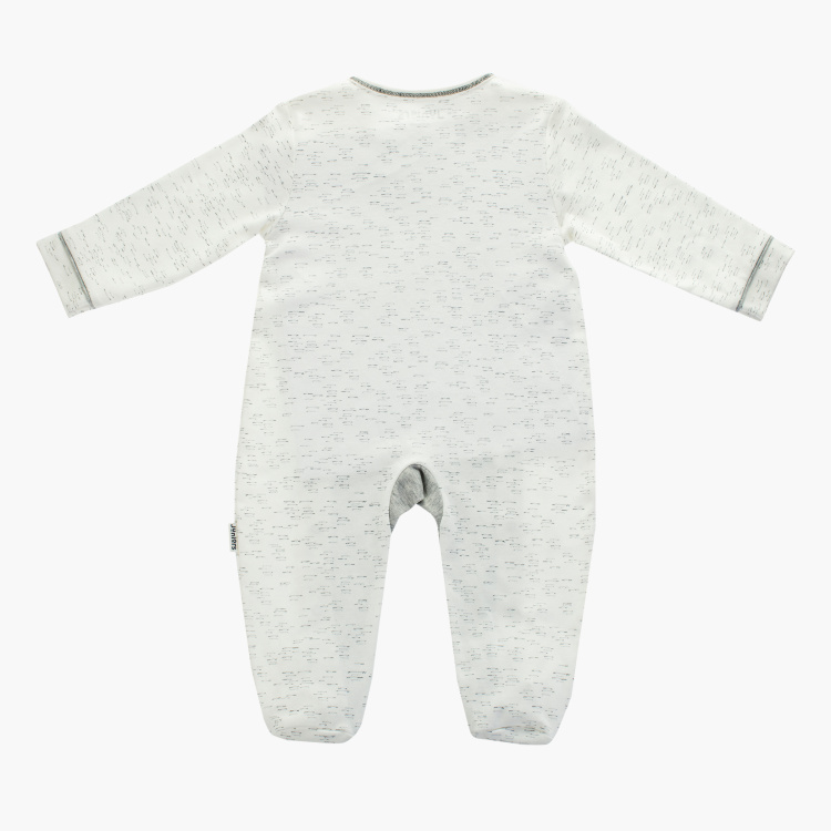 Juniors Embroidered Detail Closed Feet Sleepsuit with Long Sleeves