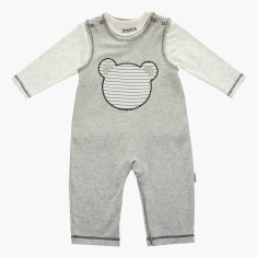 Juniors Bear Embroidered Dungarees with Long Sleeves