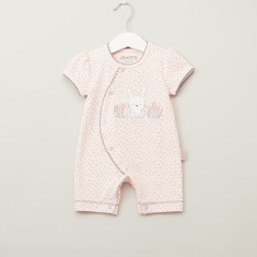 Juniors Embroidered Romper with Short Sleeves