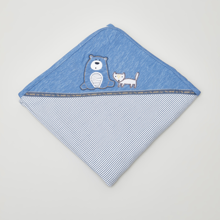Juniors Lazy Bear Embroidred Receiving Blanket - 75x100 cms