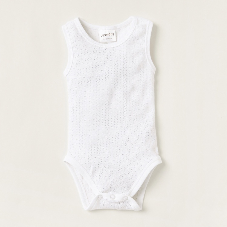 Juniors Plain Sleeveless Bodysuit with Round Neck