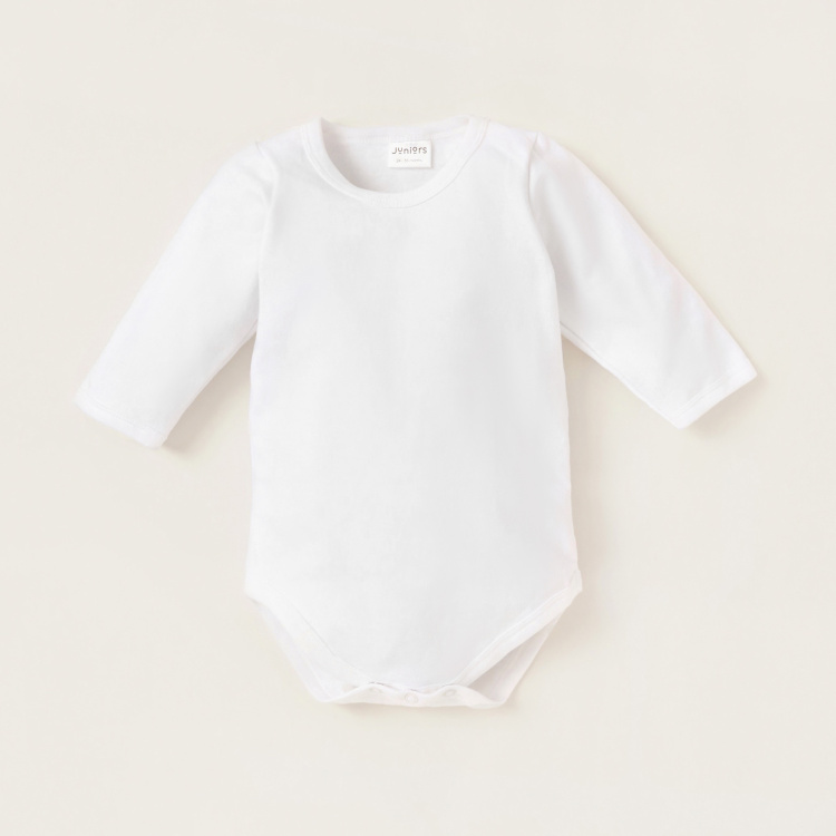 Juniors Solid Bodysuit with Long Sleeves and Snap Button Closure