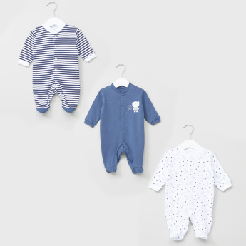 Juniors Printed Long Sleeves Closed Feet Sleepsuit - Set of 3