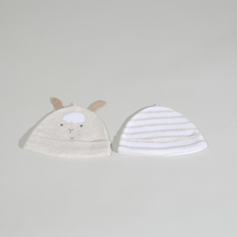 Juniors Applique Detail and Striped Cap - Set of 2