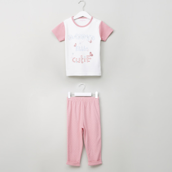 Juniors Printed Round Neck T-shirt and Pyjama Set