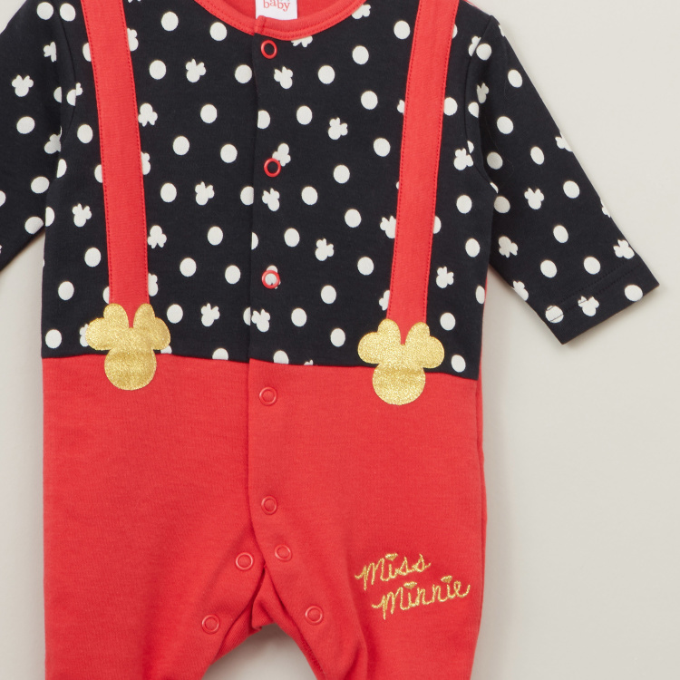 Disney Minnie Mouse Print Sleepsuit with Long Sleeves