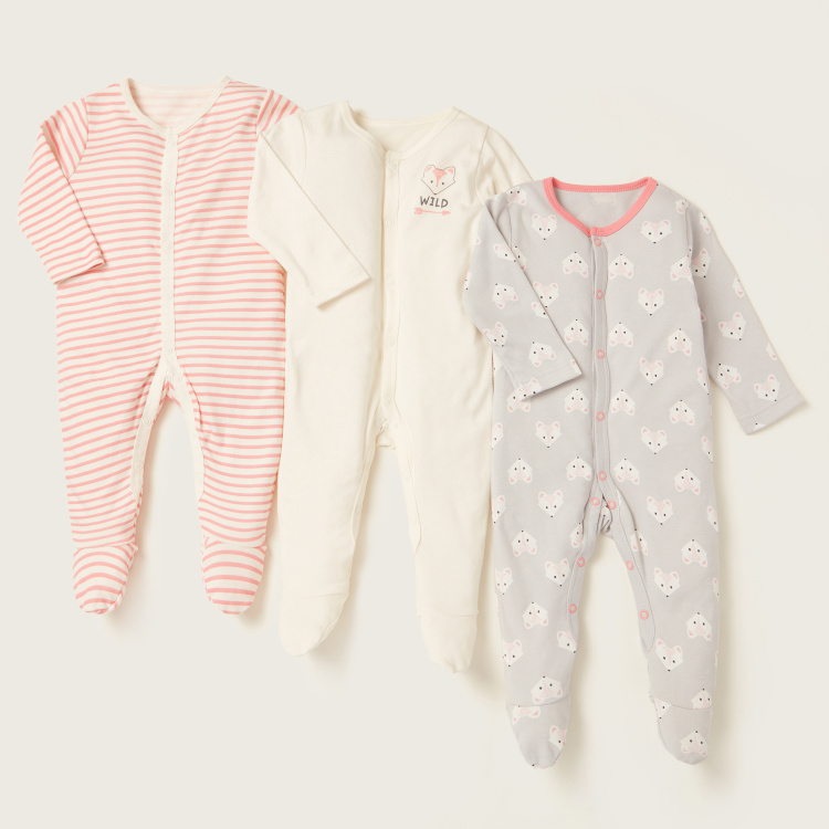 Juniors Printed Long Sleeves Sleepsuit - Set of 3
