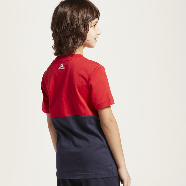 Adidas Panelled Round Neck T-shirt with Short Sleeves