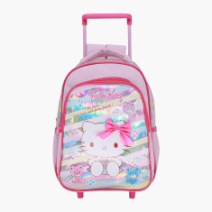 Hello Kitty Print Trolley Backpack with Retractable Handle - 14 inches