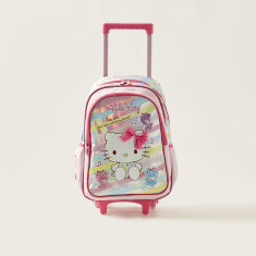 Hello Kitty Print Trolley Backpack with Retractable Handle - 18 inches