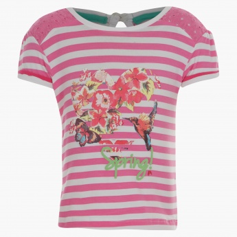Juniors Printed T-shirt with Schiffli Yoke