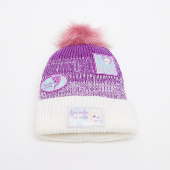 Frozen Applique Embroidered Winter Beanie Cap with Pom-Pom Detail