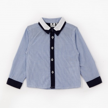 Juniors Shirt with Contrast Collar and Placket