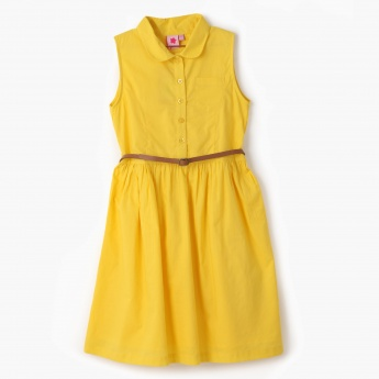 Juniors Sleeveless Dress with Belt