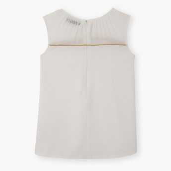 Posh Sleeveless Blouse with Studded Neckline