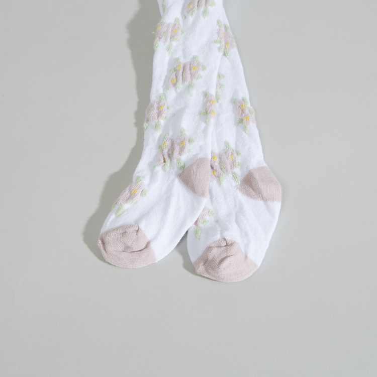 Juniors Floral Printed Tights with Closed Feet