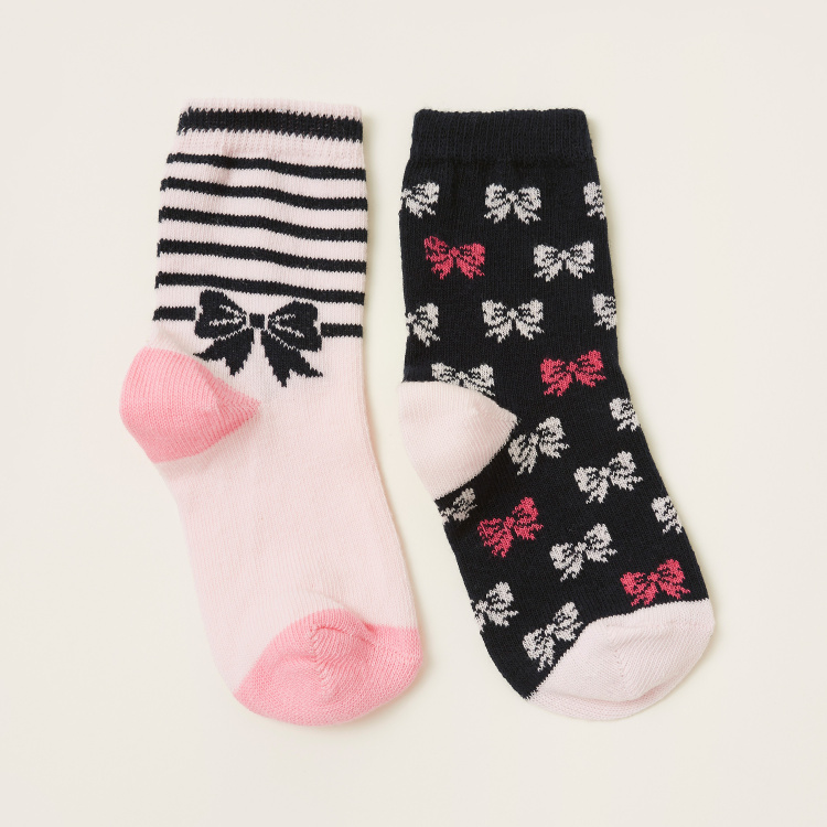 Juniors Printed Socks with Cuffed Hem - Pack of 2