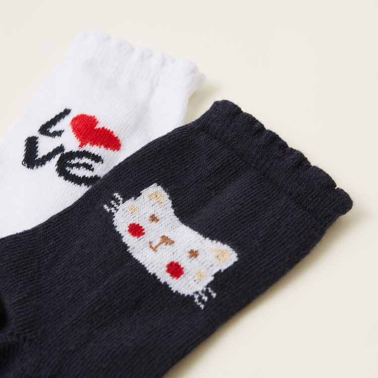 Juniors Printed Socks with Scalloped Hem - Pack of 2