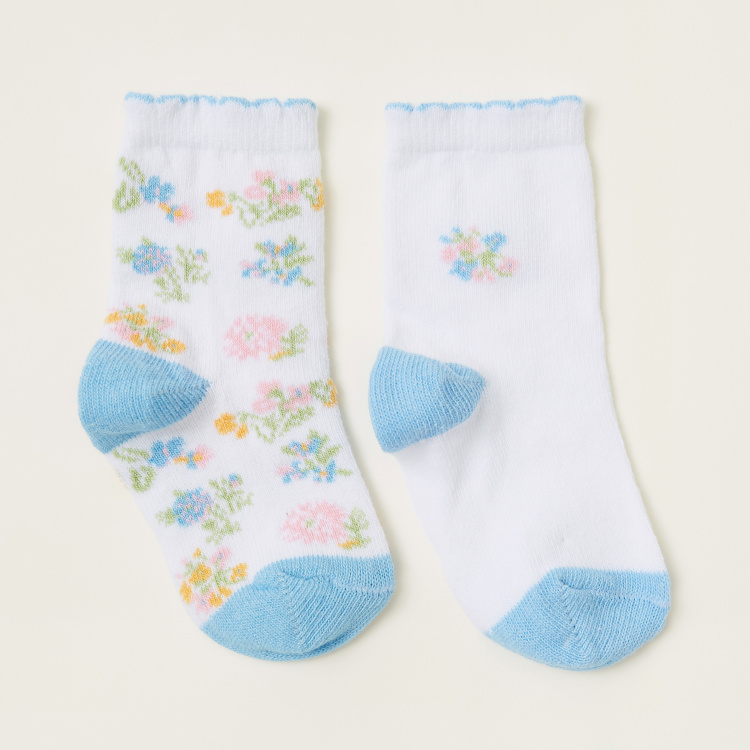 Juniors Floral Print Infant Socks - Set of 2