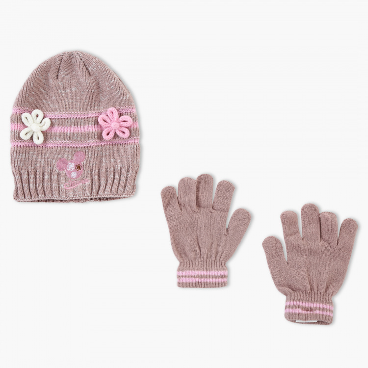 Minnie Mouse Embroidered Beanie Cap and Gloves