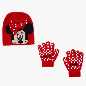 Minnie Mouse Printed Cap and Gloves Set